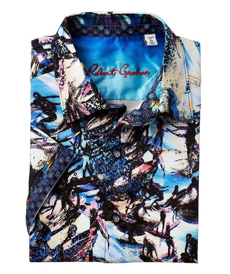 Short-Sleeve Surfer-Printed Stretch-Cotton Shirt image 1