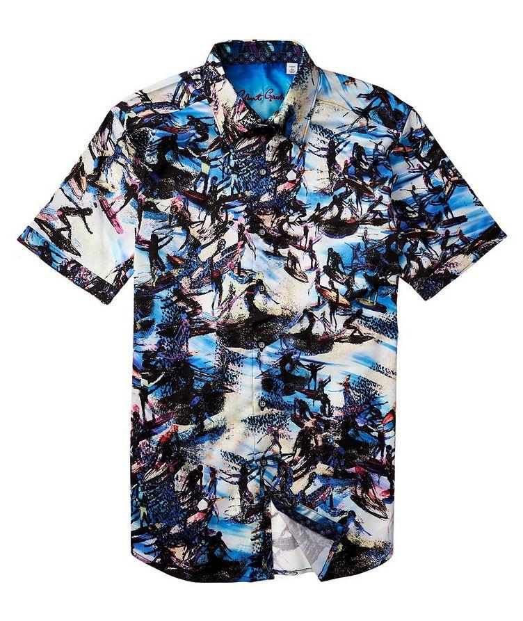 Short-Sleeve Surfer-Printed Stretch-Cotton Shirt image 2