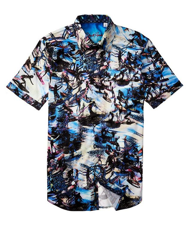 Short-Sleeve Surfer-Printed Stretch-Cotton Shirt picture 3