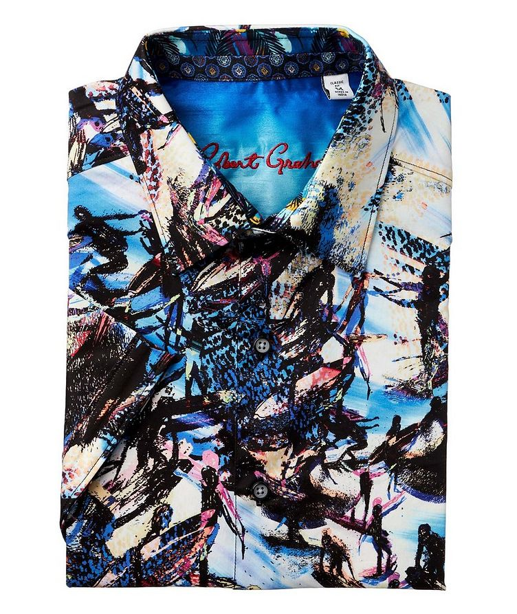 Short-Sleeve Surfer-Printed Stretch-Cotton Shirt image 0