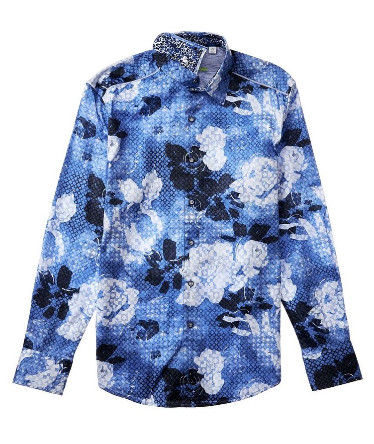 Geometric Botanical-Printed Stretch-Cotton Shirt image 2