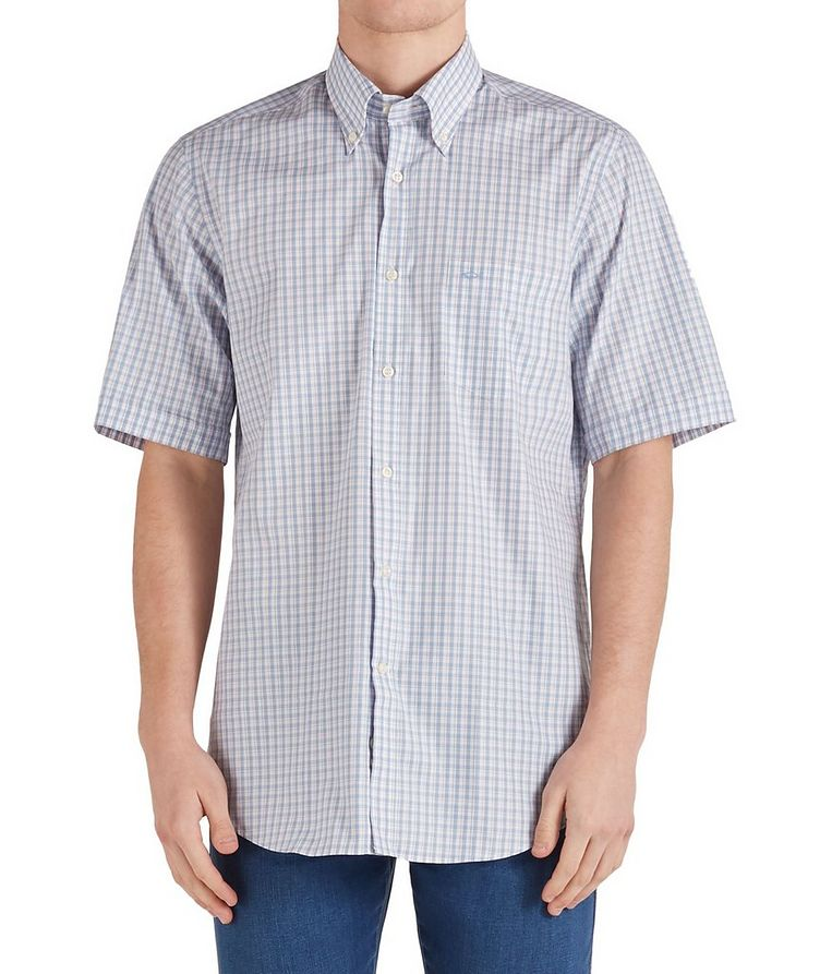 Short-Sleeve Checked Cotton Shirt image 0