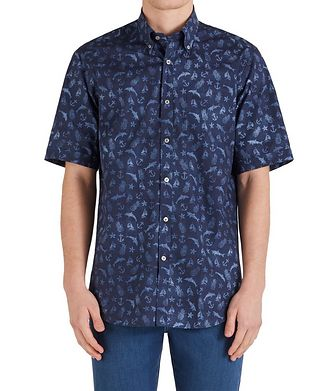 Paul & Shark Short-Sleeve Printed Cotton Shirt