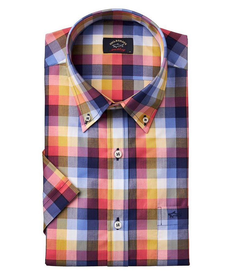 Chemise en coton à motif quadrillé et à manches courtes image 0