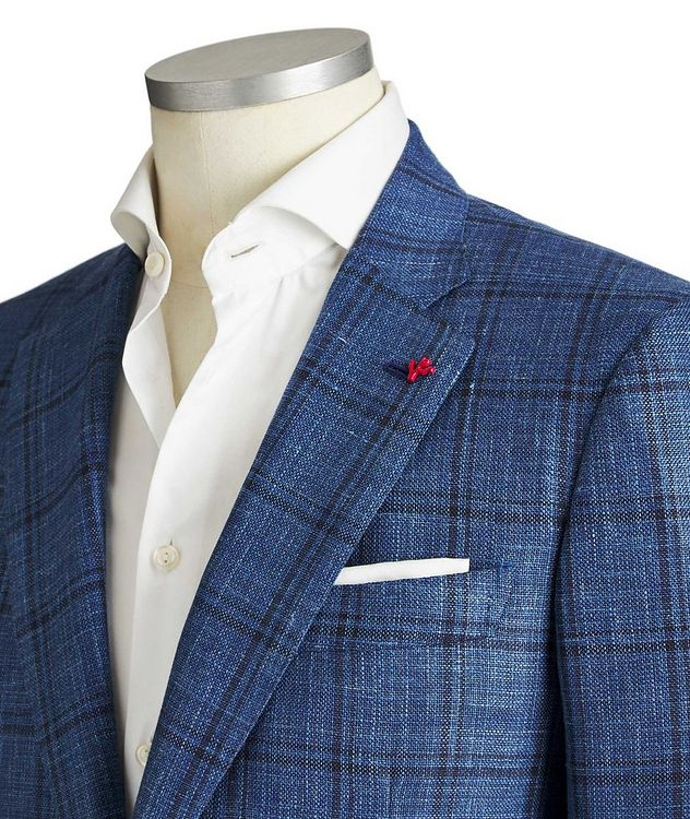 Checked Wool, Silk & Linen Sports Jacket picture 2