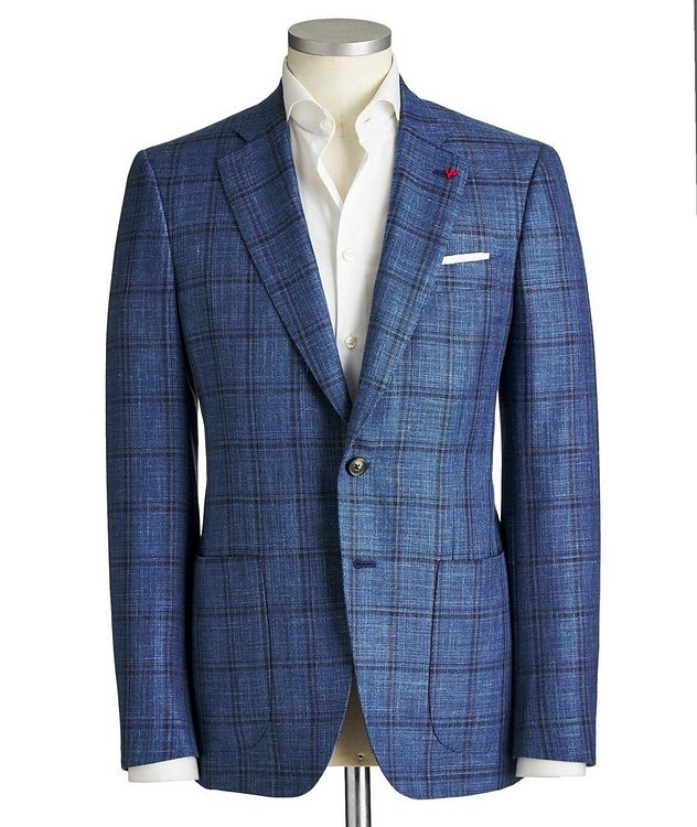 Checked Wool, Silk & Linen Sports Jacket picture 1