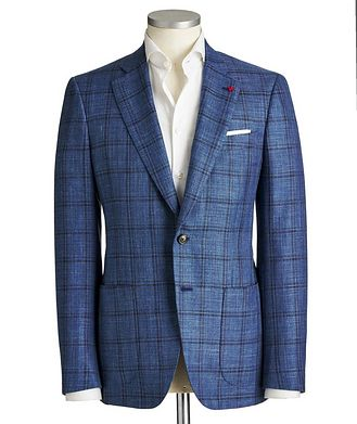 Isaia Checked Wool, Silk & Linen Sports Jacket