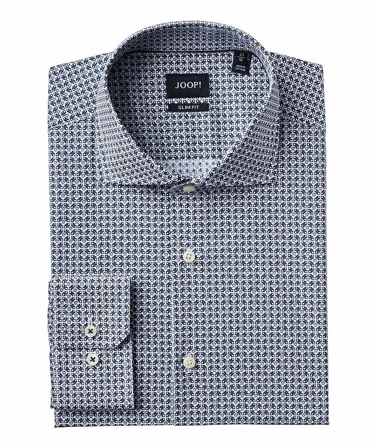 Slim Fit Geometric-Printed Dress Shirt image 0