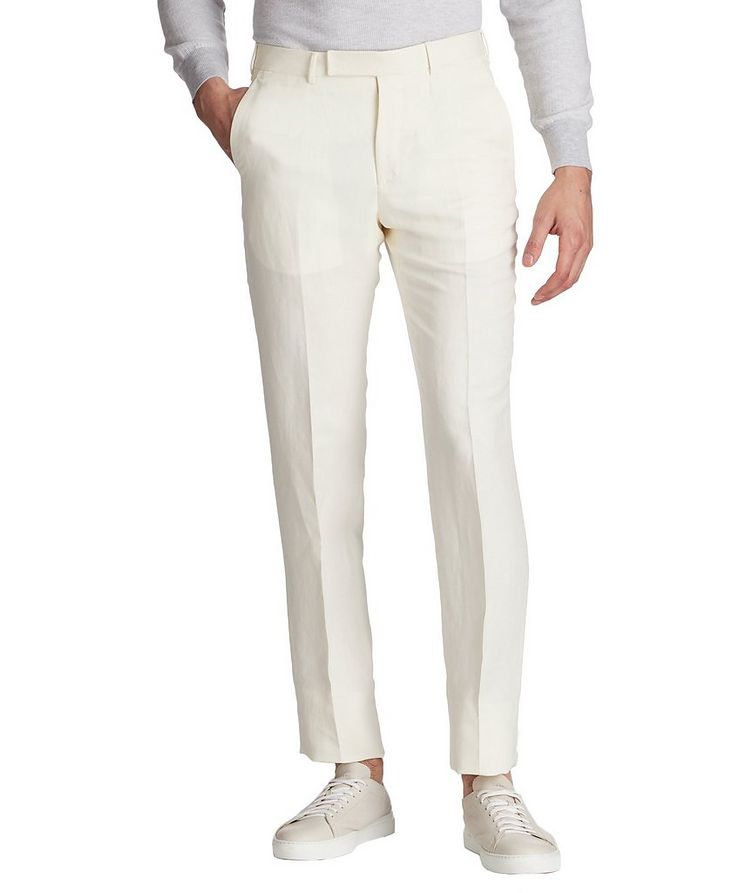 Slim Fit Linen-Silk Dress Pants image 0