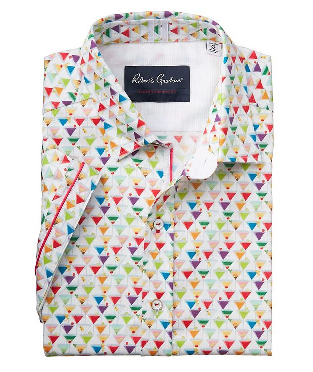 Short-Sleeve Martini-Printed Stretch-Cotton Shirt picture 2