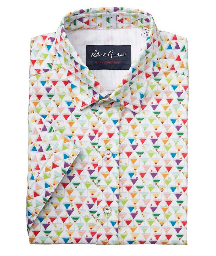 Short-Sleeve Martini-Printed Stretch-Cotton Shirt image 0