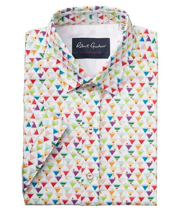 Short-Sleeve Martini-Printed Stretch-Cotton Shirt picture 1