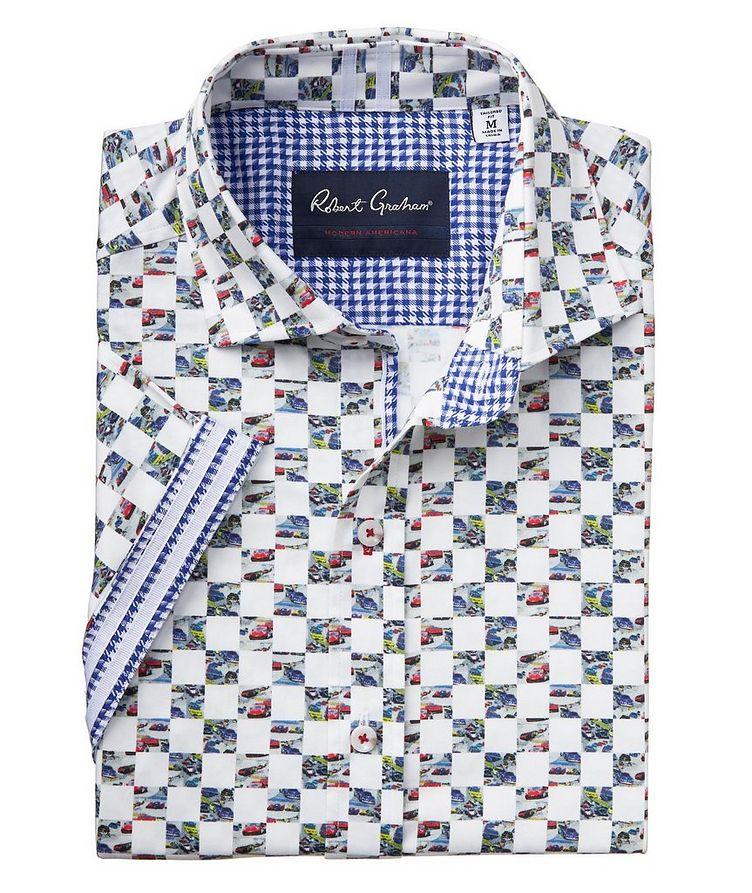 Short-Sleeve Checkered Stretch-Cotton Shirt image 1
