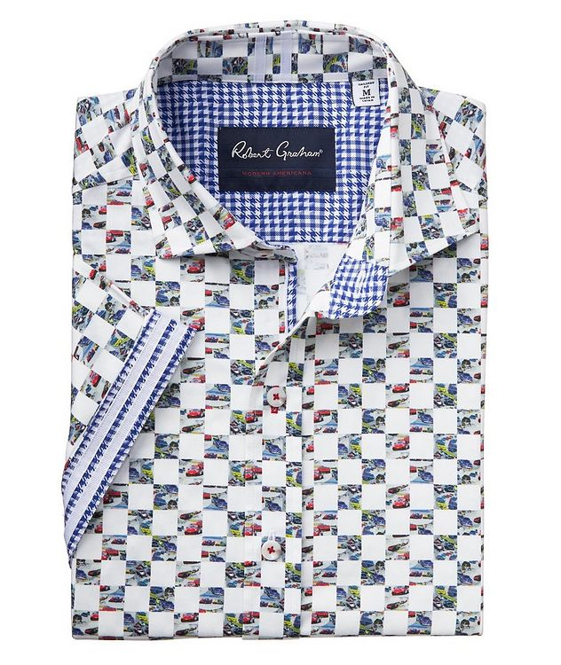 Short-Sleeve Checkered Stretch-Cotton Shirt picture 2