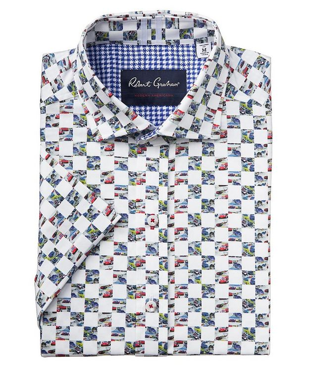 Short-Sleeve Checkered Stretch-Cotton Shirt picture 1