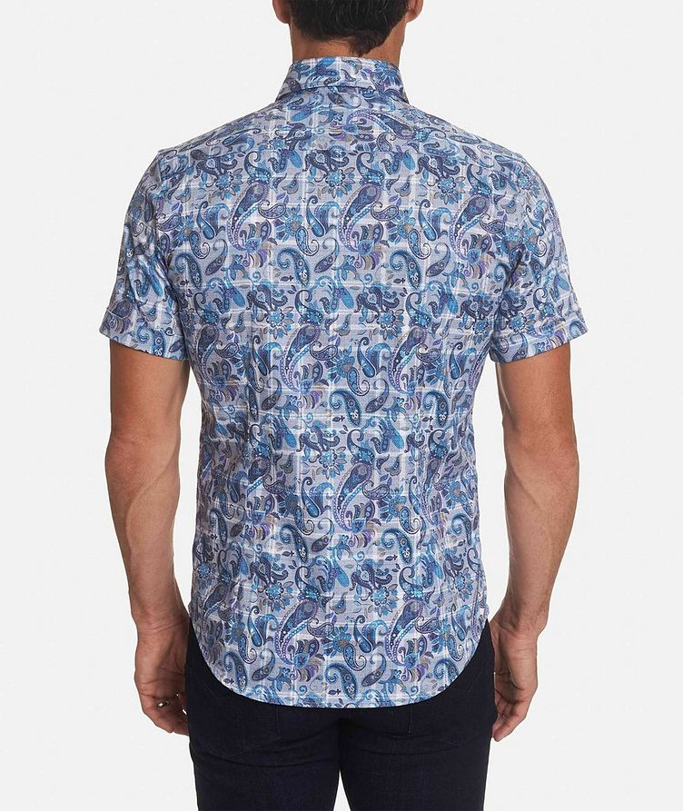 Short-Sleeve Paisley-Printed Stretch-Cotton Shirt image 1