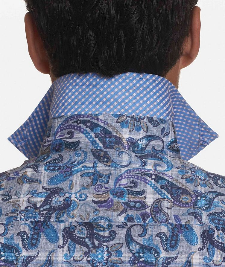 Short-Sleeve Paisley-Printed Stretch-Cotton Shirt image 2