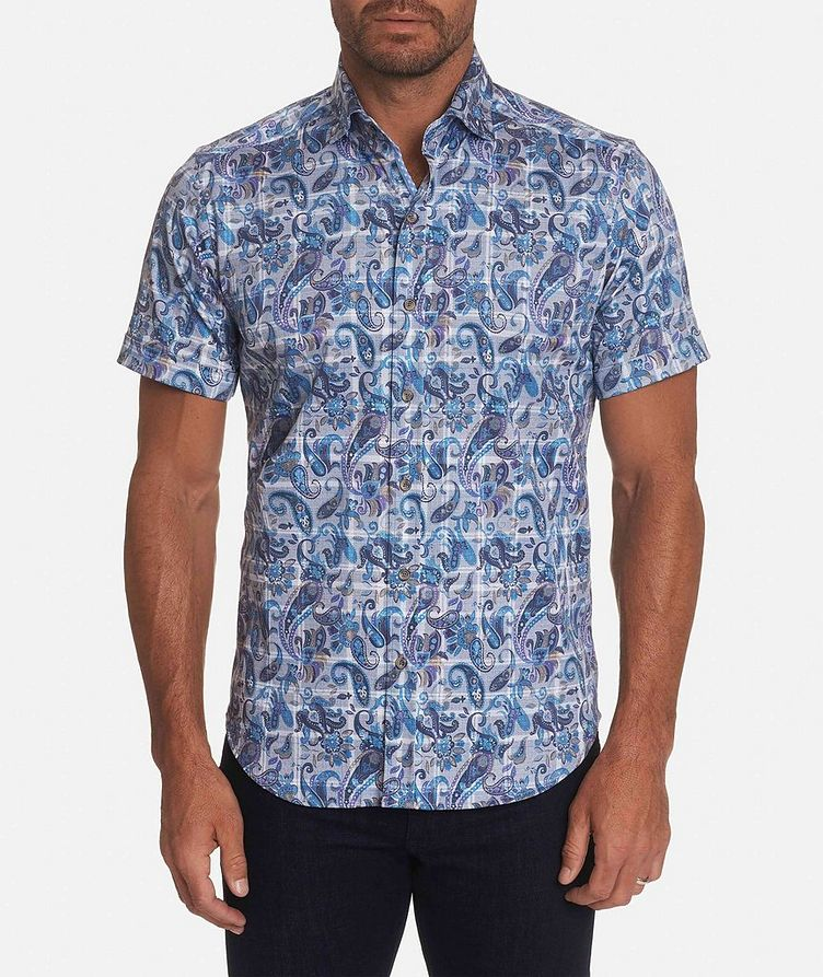 Short-Sleeve Paisley-Printed Stretch-Cotton Shirt image 0