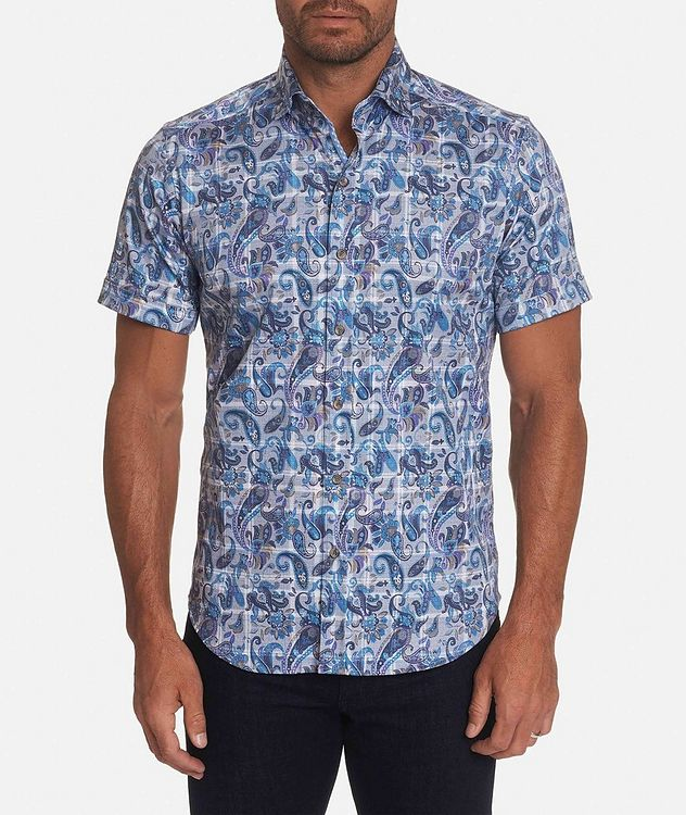 Short-Sleeve Paisley-Printed Stretch-Cotton Shirt picture 1