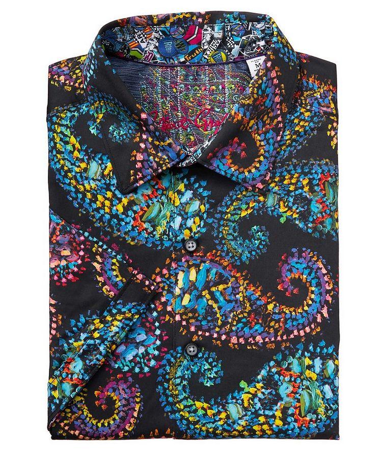 Short-Sleeve Paisley-Printed Stretch-Cotton Shirt image 0