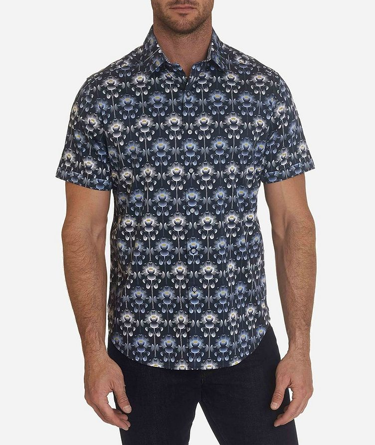 Short-Sleeve Floral-Printed Stretch-Cotton Shirt image 0
