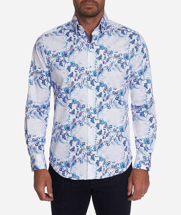 Long-Sleeve Paisley-Printed Stretch-Cotton Shirt picture 1