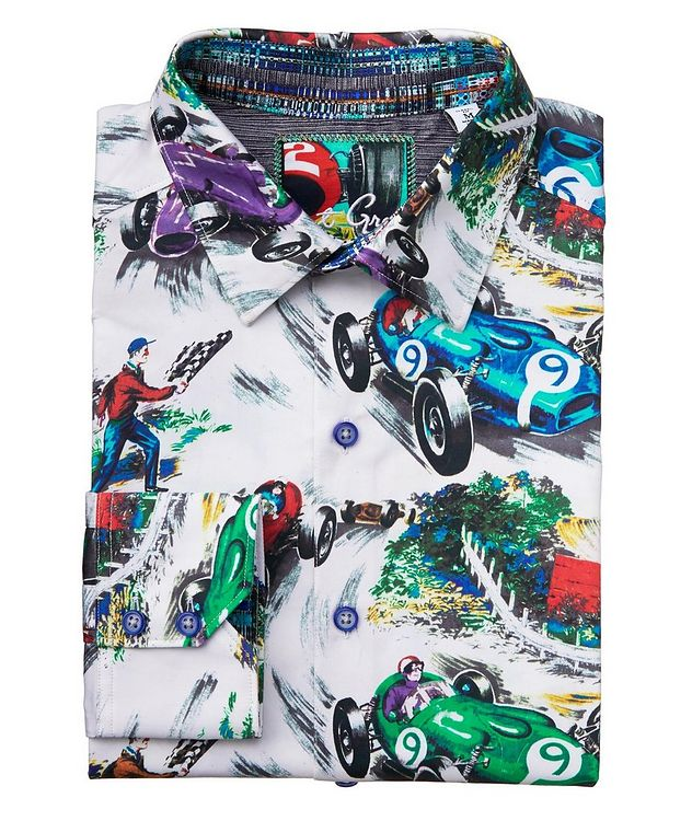 Race Car-Printed Stretch-Cotton Shirt picture 1