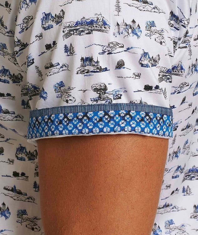 Short-Sleeve Toile de Jouy Stretch-Cotton Shirt picture 3