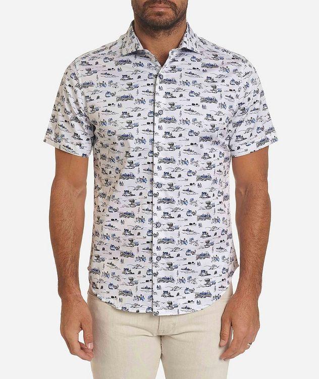 Short-Sleeve Toile de Jouy Stretch-Cotton Shirt picture 1