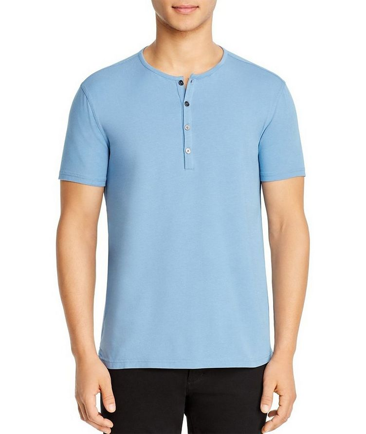 Short-Sleeve Stretch-Cotton Henley T-Shirt image 0
