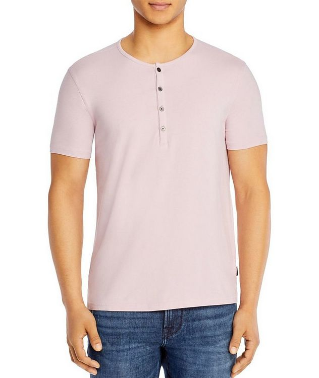 Short-Sleeve Stretch-Cotton Henley T-Shirt picture 1