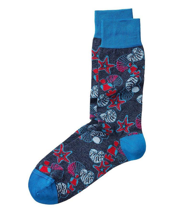 Seashell-Printed Stretch-Cotton Socks image 0