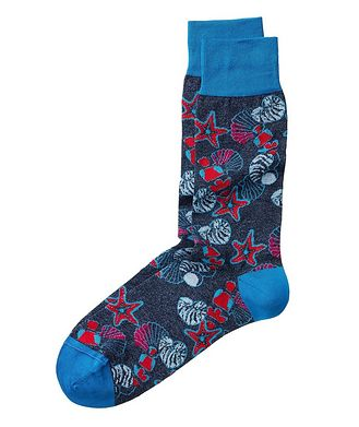 Bugatchi Seashell-Printed Stretch-Cotton Socks