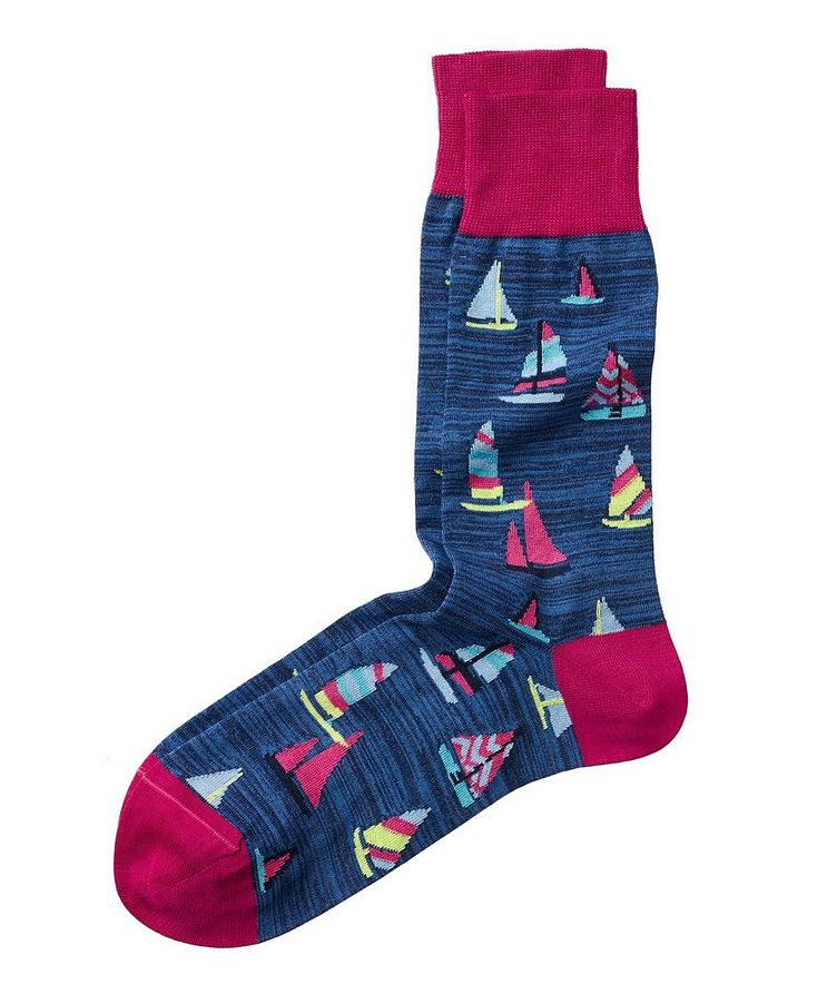 Sailboat-Printed Stretch-Cotton Socks image 0