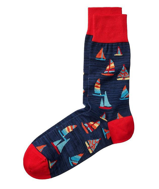 Sailboat-Printed Stretch-Cotton Socks picture 1
