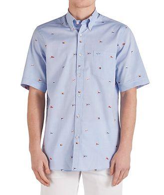 Paul & Shark Short-Sleeve Printed Cotton Shirt