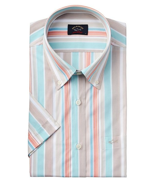 Short-Sleeve Striped Cotton Shirt picture 1