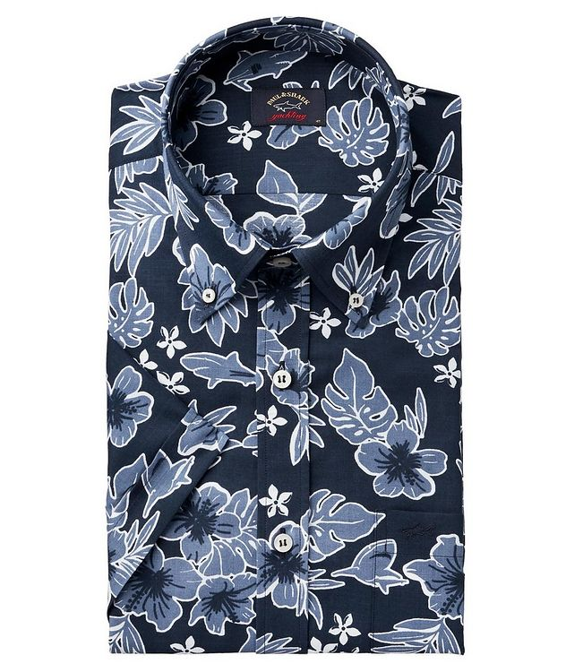 Short-Sleeve Botanical-Printed Cotton Shirt picture 1