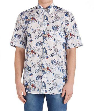 Paul & Shark Short-Sleeve Botanical Cotton Shirt