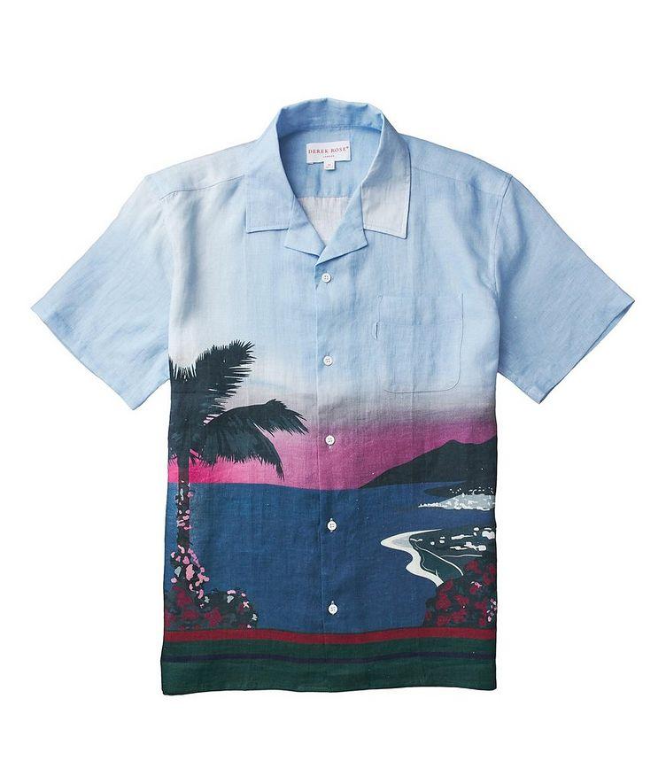 Short-Sleeve Seaside-Printed Linen Shirt image 1