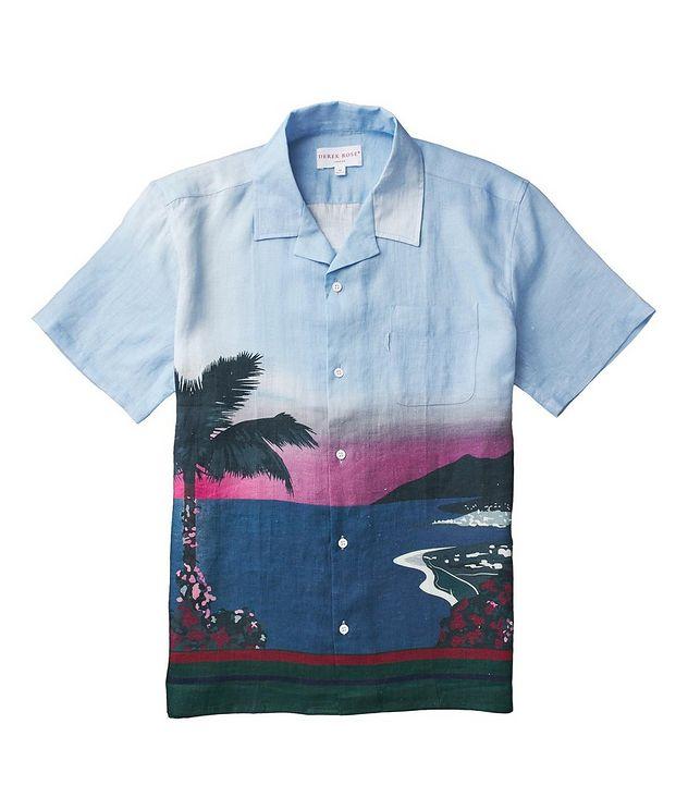 Short-Sleeve Seaside-Printed Linen Shirt picture 2