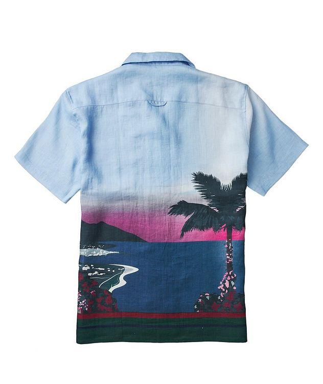 Short-Sleeve Seaside-Printed Linen Shirt picture 3