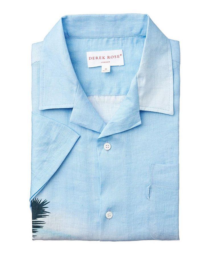Short-Sleeve Seaside-Printed Linen Shirt image 0