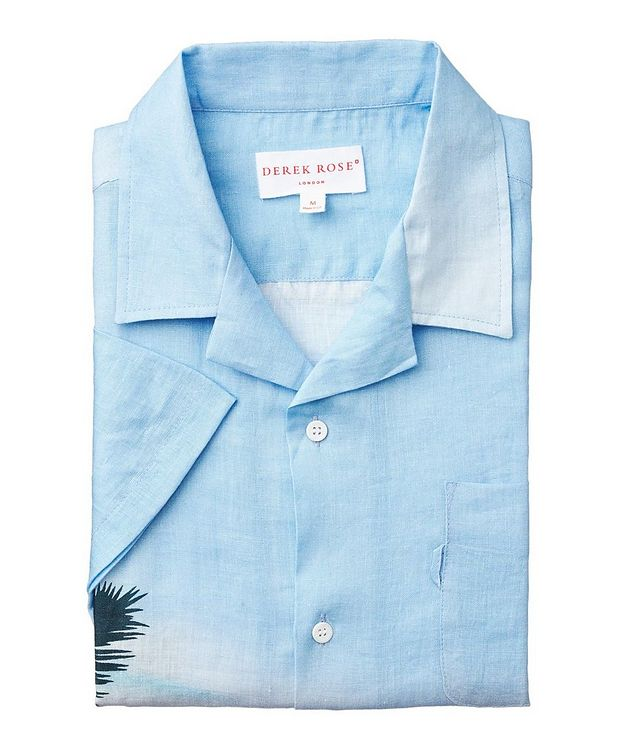 Short-Sleeve Seaside-Printed Linen Shirt picture 1