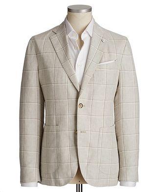 L.B.M. 1911 Windowpane Linen Sports Jacket