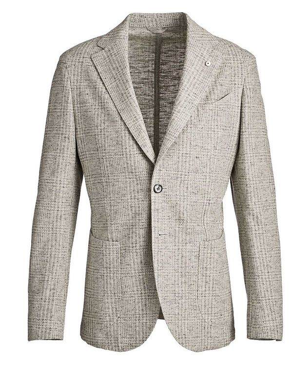 Checked Cotton-Linen Sports Jacket picture 1