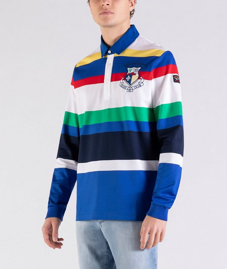 Long-Sleeve Striped Rugby Polo image 1