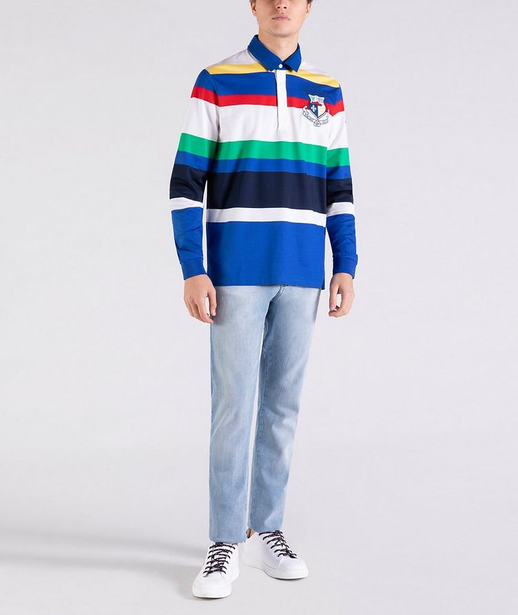 Long-Sleeve Striped Rugby Polo image 4