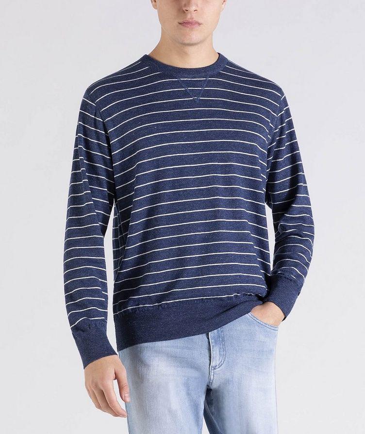 Striped Linen-Cotton Sweater image 0