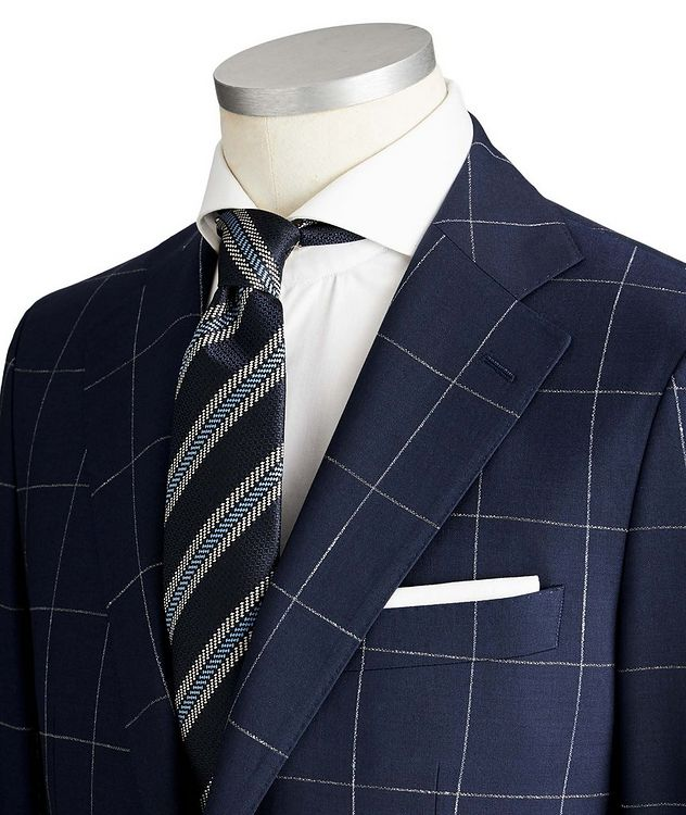 Slim Fit Windowpane Checked Suit picture 2